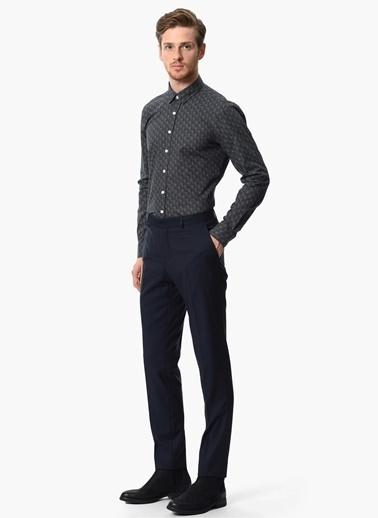NetWork Desenli Uzun Kollu Slim Fit Gömlek Lacivert